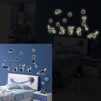 Glow in the Dark Cats Wall Decals
