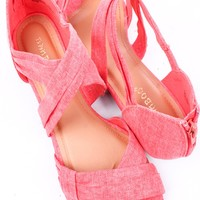 MELON LINEN PLEATED STRAPPY LOW WEDGE SANDALS