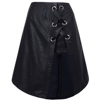 Black High Waist Eyelet Lace Up Split Front Leather Look Skirt