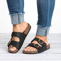 Double Buckle Sandals - Black
