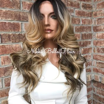 """SALE Heather 20"""" Human Hair Blend Multi Parting Lace Front Wig