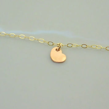 Tiny Heart Charm - Gold Necklace - Rose Gold Charm - Dainty - Flower Girl Present - Bridesmaid Gift - Gift for her