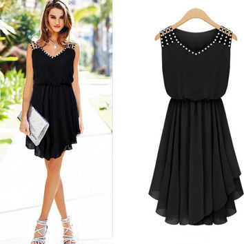 Womens Chiffon Tight-Fitting Dress with Crystal
