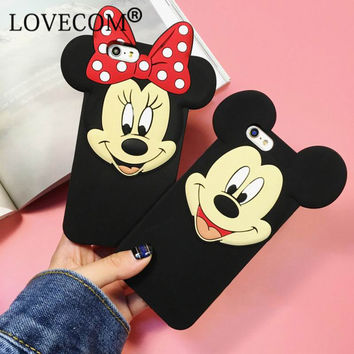 New Cartoon Image Soft Silicon Phone Back Coque Cover For iPhone 6 6S 6Plus 6SPlus Cute Mickey Minnie Phone Case