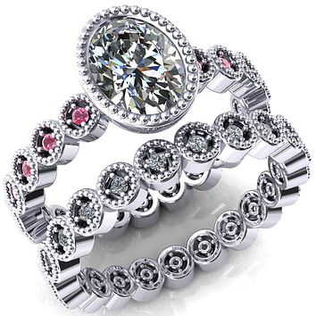 Borea Oval Moissanite Full Bezel Milgrain Pink Sapphire Accent Full Eternity Ring