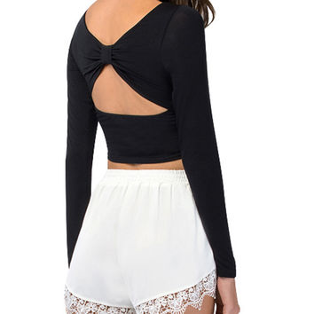 Long Sleeve Cutout Bodycon Cropped Top