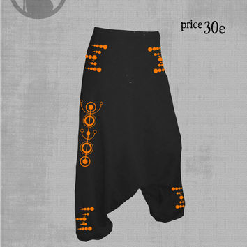 mens harem pants with CROP CIRCLES  print neon vinyl-neon print, psy clothing - trance- festival- blacklight active