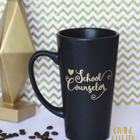 School Counselor // Matte Black Coffee Mug
