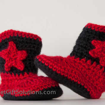 Red and Black Newborn Cowboy Baby Booties with Stars, Western Baby Booties, Star Baby Booties, Baby Photo Prop, Baby Shower Gift