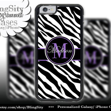 Monogram Black Zebra Print Iphone 6 case 6 Plus Purple Personalized Name Iphone 4 4s 5 5s 5c 6 6+ Ipod Touch Cover