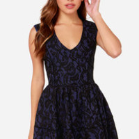 Hazel Never Give You Up Navy Blue Lace Dress