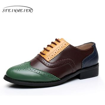 Genuine leather shoes women US size 11 handmade yellow green brown 2017 vintage flat British style oxford shoes for women fur