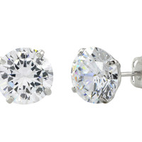 10k White Gold Round Clear Cubic Zirconia CZ Stud Earrings Basket Setting