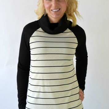 Jordan Striped Cowl Neck Top - Ivory