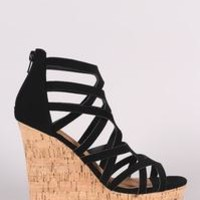 Qupid Strappy Open Toe Platform Wedges