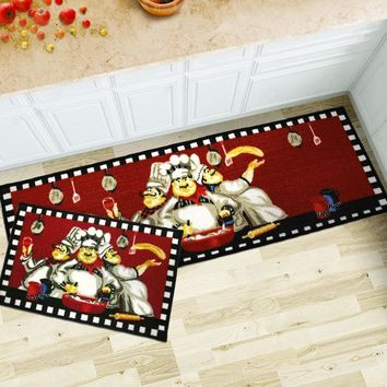 Autumn Fall welcome door mat doormat Cartoon Chef Kitchen Carpets Rugs Carpet Long Hallway Anti Slip Runners Kitchen Floor Mat Water Absorb   Entrance AT_76_7
