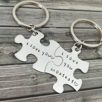 I love you mostest, Couples Keychains, Stamped Puzzle Keychains , Anniversary Gift