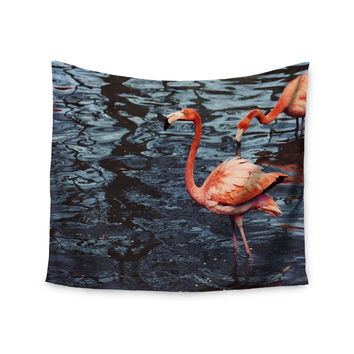 "Angie Turner ""Pink Flamingo "" Animals Blue Wall Tapestry"