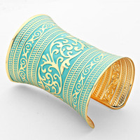 Teal Gold Filigree Tunnel Cuff Bracelet Egyptian Bracelet
