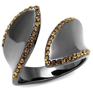 Sherry Black Ring with Brown Stones
