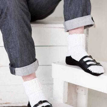 Mens Slipper Socks Mens Knit Slippers White Black Sandal Sock Mens House Slippers Mens Knit Socks Leather Straps