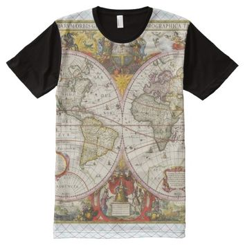 Vintage World Map All Over Print Shirt