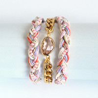 Pink wrap bracelet with chunky chain, chain bracelet, faceted glass