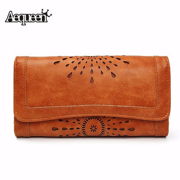 AEQUEEN Women Wallets Hollow Out Leather Long Purse Women Coin Purses Brand Designer Purse Lady Clutch Money Credit Card Holder