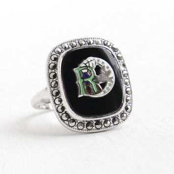 Vintage Art Deco Black Glass & Marcasite Daughters of Rebekah Ring - Size 5 3/4 1930s Odd Fellows IOOF Enamel Jewelry
