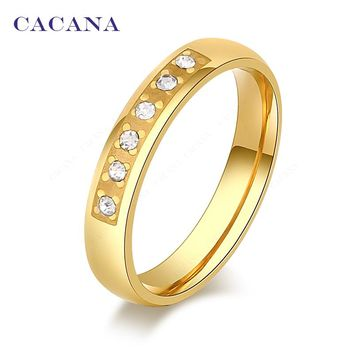 Five CZ  With Petal Titanium Stainless Steel Rings For Women