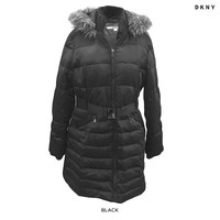 DKNY Quilted Furry Trimmed Belted Three-Quarter Length Jacket - Assorted Colors