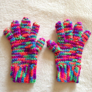 Full Finger Gloves, Multi-Colored - Crochet - Women's Small