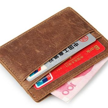 2017 Travel  wallet card holder vintage 100% genuine leather porte carte front pocket slim card wallet credit card holder