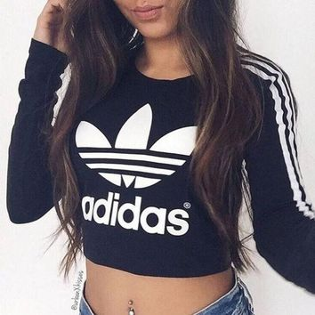 LMFON Adidas' Fashion Short Shirt Crop Long Sleeve Top Tee