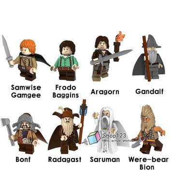 Single Sale The Lord of the Rings Figure Aragon Gray Gandalf Bear Bion Rydgarst Saruman Frodo Building Blocks Children Gift Toys