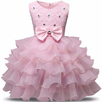 Summer New Born Baby Girl Dresses Pearls Bow Multilayered luxurious Dress Christening Gown Baby Tutu Dress 0-2 Years Infant Kids
