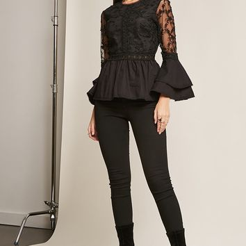 Embroidered Trumpet-Sleeve Top