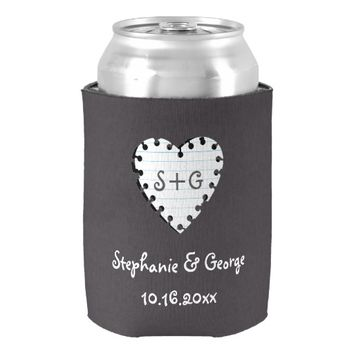 Paper heart on chalkboard with monogram wedding can cooler