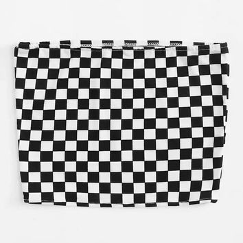 Plus Checkerboard Tube Top