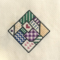 Vintage Finished Cross Stitch Sampler Folk Heart Quilt Block Completed