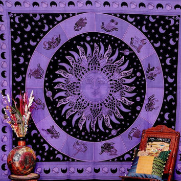 Purple Blue Celestial Indian Sun Hippie Hippy Tapestry Wall Hanging Throw Tie Dye