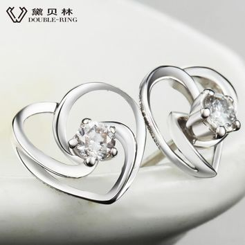 DOUBLE-R Earrings for Women Fine Jewelry Bijouterie 18K gold Wedding Promise 0.13ct Real Diamond Stud Earrings CAE00609A