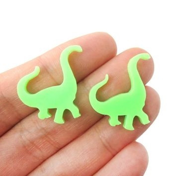 Large Brontosaurus Dinosaur Silhouette Shaped Laser Cut Stud Earrings in Green