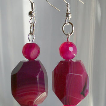 Hot Pink Chunky Agate Statement Earrings, Big Bold Fuchsia Agate Wedding Statement Earring, Dangling Faceted Pink Chalcedony Bridal Earrings