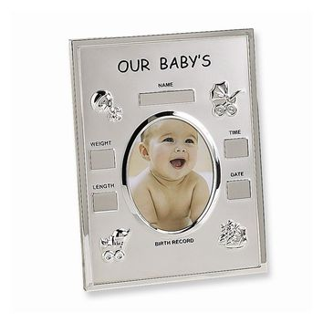 Metal Birth Record Photo Frame - Engravable Personalized Gift Item