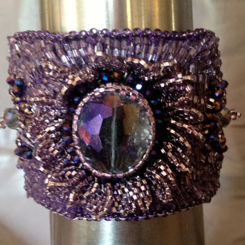 Purple Beaded Bracelet, Beaded Cuff, Seed Bead Embroidery,Peyote Leaves, Glass Crystal Entry for Purple Minifest for EBEG