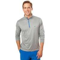 Southern Tide Pop Color Performance 1/4 Zip Pullover- Heathered Grey