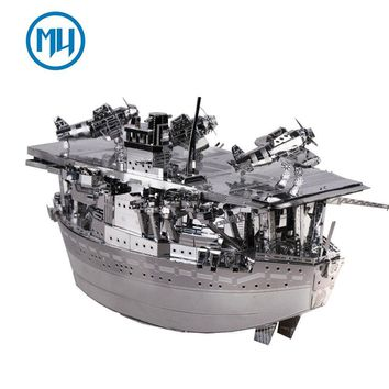MU 3D Metal Puzzle Janpan Mini Aircraft Carriers Akagi Building Model Kit YM-N018-S DIY 3D Laser Cut Assemble Jigsaw Toys