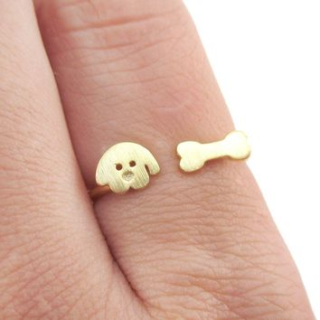 Cartoon Puppy Dog Face and Bone Shaped Adjustable Ring in Gold | DOTOLY