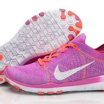 Women's Pink/White Nike Free TR 5.0 Flyknit Training Shoes